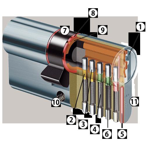 Dwarsdoorsnede standaard cilinder