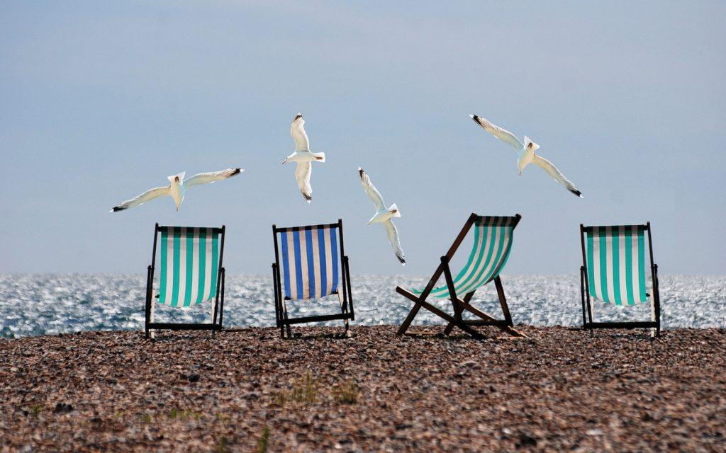 Strandstoelen meeuwen strand zomer